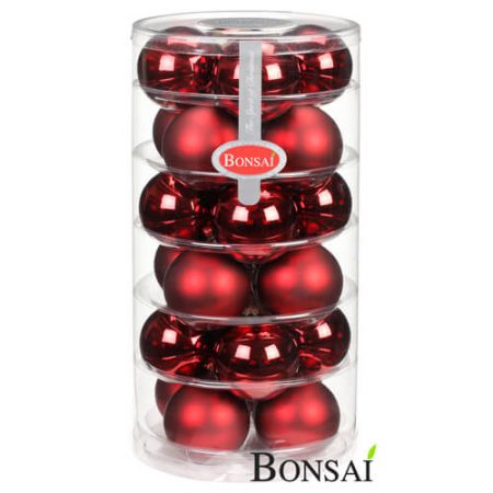 24 kroglic 6 cm rdeč videz STEKLO