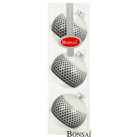 3 kroglice 8 cm Black& White Dots STEKLO