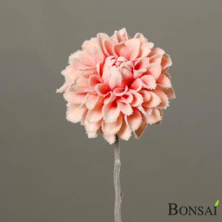 Umetna roža Dalija Peach 52cm zasnežena