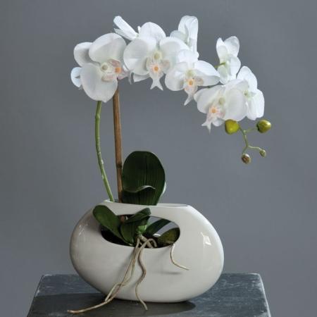 Umetna orhideja bela v vazi 43cm